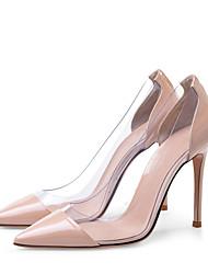 Недорогие -Жен. Обувь на каблуках На шпильке Заостренный носок Искусственная кожа Милая / Минимализм Лето Миндальный / Черный