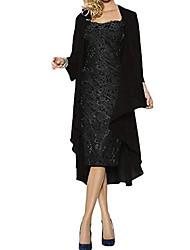 Недорогие -Жен. Элегантный стиль Из двух частей Платье - Геометрический принт Контрастных цветов, Вышивка Мини Красный
