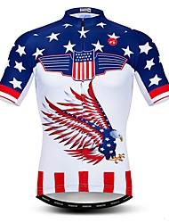 Недорогие -WEIMOSTAR Муж. С короткими рукавами Велокофты Белый Американский / США Eagle Флаги Велоспорт Джерси Верхняя часть Дышащий Влагоотводящие Быстровысыхающий Виды спорта Полиэстер Эластан Терилен
