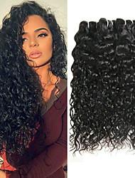 voordelige -6 bundels Indiaas haar Watergolf Onbehandeld haar Mensen Remy Haar Menselijk haar weeft Bundle Hair Een Pack Solution 8-28inch Natuurlijke Kleur Menselijk haar weeft Geurvrij Feest sexy Lady