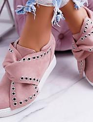 Недорогие -Жен. На плокой подошве На низком каблуке Круглый носок Заклепки Замша Весна & осень Черный / Серый / Розовый