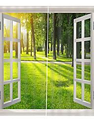 Недорогие -Современная простая 3d печать за окном зеленая трава дерево карта украшения дома утолщение чисто полиэстер ткань занавес многофункциональный занавеска для ванной / занавес