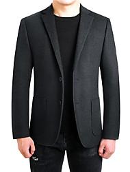 Недорогие -Муж. Повседневные Наступила зима Обычная Куртка, Однотонный Лацкан с тупым углом Длинный рукав Полиэстер Черный