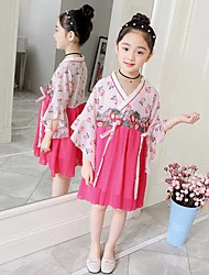 olcso -Gyermek táncruhák Hanfu Lány Teljesítmény Sifon Minta Háromnegyedes Ruha