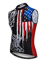 Недорогие -21Grams Американский / США Флаги Муж. Без рукавов Велокофты - Черный / красный Велоспорт Джерси Верхняя часть Дышащий Влагоотводящие Быстровысыхающий Виды спорта Полиэстер Эластан Терилен