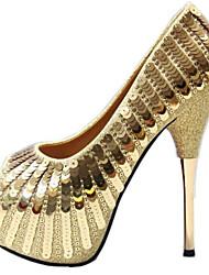 Недорогие -Жен. Обувь на каблуках Туфли на шпильках На шпильке Полиуретан Весна лето Золотой / Черный