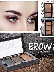 abordables -Combinación de crema de cejas en polvo de tres colores, resistente al agua y duradera, fácil de colorear maquillaje de cejas de larga duración natural