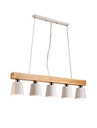 Недорогие -деревянные люстры 5 светильников скандинавский простой подвесной светильник для гостиной бар кафе современный металлический потолочный светильник белый абажур