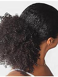Недорогие -плетение волос Конскиехвостики Женский Натуральные волосы Волосы Наращивание волос Кудрявый 20 дюймы На каждый день / Черный