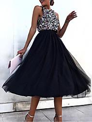 Недорогие -Жен. Элегантный стиль С летящей юбкой Платье - Геометрический принт, Пайетки Средней длины / Для вечеринок