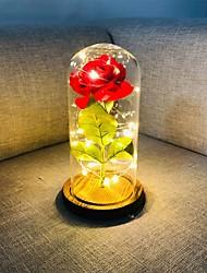 Недорогие -красавица и зверь роза красная шелковая роза светодиодные фонари вечно держатся в стеклянном куполе на деревянной основе подарок на день святого валентина день рождения свадьба