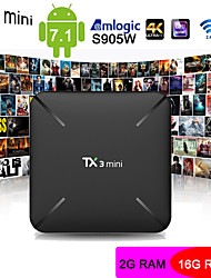 Недорогие -TX3 Mini Android 7.1 Amlogic S905W HDMI 2.0 Smart TV Box 2 ГБ DDR3 RAM 16 ГБ ROM Поддержка 4K H.265 YouTube мерцание игрока