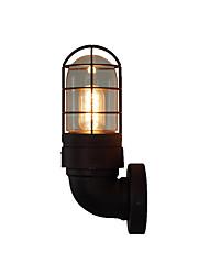 Недорогие -Американский старинные круглые трубки настенный светильник промышленный ретро настенный светильник металлическая клетка абажур черная отделка железная стена бра подключить для бара прихожей фермы