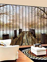 Недорогие -3d цифровая печать природа вдохновила конфиденциальность две панели пользовательские полиэфирные шторы для спальни / гостиной декоративные пыленепроницаемые водонепроницаемые шторы высокого качества