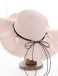 Недорогие -Жен. Универсальные Классический Соломенная шляпа Солома,Однотонный Бежевый Темно синий Светло-коричневый