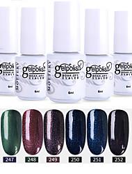 economico -smalto per unghie 6 pezzi colore 247-252 xyp soak-off uv / led smalto gel per unghie colore solido lacca per unghie set