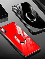 Недорогие -Кейс для Назначение Apple iPhone XS / iPhone XR / iPhone XS Max Защита от удара / со стендом / Кольца-держатели Кейс на заднюю панель Однотонный Твердый ТПУ / Закаленное стекло
