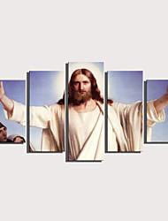 Недорогие -С картинкой Роликовые холсты Отпечатки на холсте - Люди Религиозная тематика Modern 5 панелей Репродукции