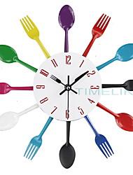 Недорогие -столовые приборы металлические кухонные настенные часы ложка вилка творческий кварцевые настенные часы современный дизайн