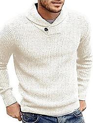 Недорогие -Муж. Однотонный Длинный рукав Пуловер, V-образный вырез Черный / Серый / Винный US36 / UK36 / EU44 / US38 / UK38 / EU46 / US40 / UK40 / EU48