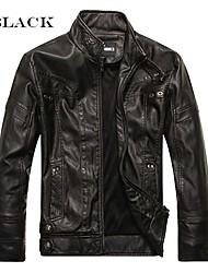 billige -Hommes Moto Veste En Cuir Motorcykel tøj Jakke for Herre PU (Polyuretan) / Polyester Vinter / Alle årstider Varmer / Bedste kvalitet