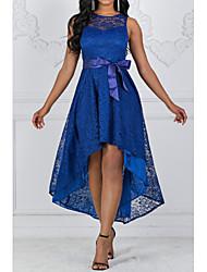 Недорогие -Жен. Изысканный Элегантный стиль Кружева Тонкие С летящей юбкой Платье - Однотонный, Кружева Мини