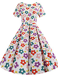 Недорогие -Жен. Классический Элегантный стиль А-силуэт Платье - Контрастных цветов В снежинку, Бант Средней длины Цветок солнца