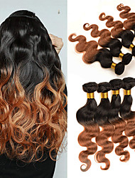 Недорогие -4 Связки Бразильские волосы Естественные кудри Не подвергавшиеся окрашиванию Натуральные волосы Человека ткет Волосы 8-30 дюймовый Омбре Ткет человеческих волос Без запаха Для вечеринок Удлинитель
