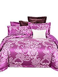 Недорогие -лаванда блестящая принцесса 250 т люкс премиум-отель жаккард из чистого хлопка сантен шелк из четырех частей постельного белья