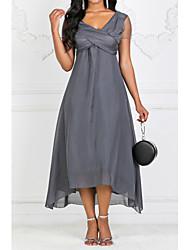 Недорогие -Жен. Большие размеры С летящей юбкой Платье - Однотонный V-образный вырез Макси / Для вечеринок / Завышенная
