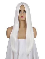 Недорогие -Парики из искусственных волос Естественный прямой Стиль Боковая часть Машинное плетение Парик Белый Белый Искусственные волосы 26 дюймовый Жен. Аниме / Регулируется / Жаропрочная Белый Парик Длинные