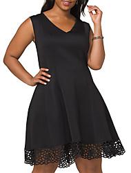 Недорогие -Жен. Классический Элегантный стиль А-силуэт Маленькое черное Платье - Однотонный, Пэчворк Выше колена