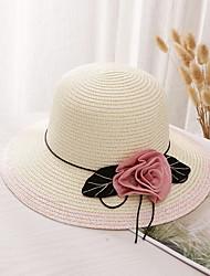 Недорогие -Жен. Классический Соломенная шляпа Солома,Однотонный Пурпурный Светло-коричневый Хаки