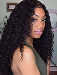 Недорогие -человеческие волосы Remy 13x6 Тип замка Парик Боковая часть стиль Бразильские волосы Кудрявый Черный Парик 130% 150% 180% Плотность волос Для вечеринок Женский Горячая распродажа Удобный вьющийся Жен.