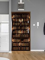 Недорогие -творческие наклейки на дверные книжные шкафы декоративные водонепроницаемые наклейки на двери - плоские настенные наклейки цветочные / ботанические / ландшафтный кабинет / офис / столовая / кухня