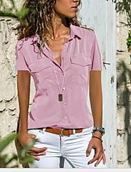 Недорогие -Жен. Рубашка Рубашечный воротник Свободный силуэт Однотонный Черный