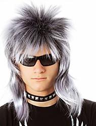 Недорогие -Парики из искусственных волос Естественный прямой Стиль Ассиметричная стрижка Без шапочки-основы Парик Желтый Черный / серый Черный / Темно-Вино Искусственные волосы 14 дюймовый Муж. Для вечеринок