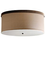 Недорогие -Светодиодный потолочный светильник Американский кантри подвесной светильник скрытого монтажа круглой формы антикварные люстры для гостиной тени ткани