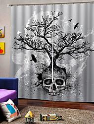 Недорогие -украшения дома роскошные 3d цифровая печать шторы череп дерево хэллоуин тема на заказ род комплект занавес