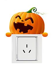 Недорогие -смайлик тыква выключатель света наклейки - плоские наклейки на стену животных / формы гостиной / спальни / кухни