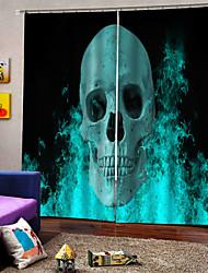 Недорогие -Горячая внешняя торговля уф цифровая печать шторы хэллоуин тема синий череп занавес на заказ