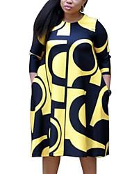 Недорогие -Жен. Уличный стиль Изысканный Прямое С летящей юбкой Платье - В клетку Буквы Средней длины