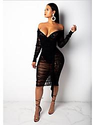 Недорогие -Жен. Классический Облегающий силуэт Платье - Однотонный, Кружева До колена