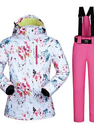Недорогие -MUTUSNOW Жен. Лыжная куртка и брюки Водонепроницаемость С защитой от ветра Теплый Катание на лыжах Сноубординг Зимние виды спорта Полиэстер Наборы одежды Одежда для катания на лыжах