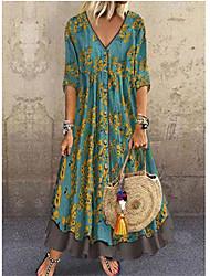 Недорогие -Жен. Элегантный стиль А-силуэт Платье - Цветочный принт, Пайетки С принтом Глубокий V-образный вырез Макси