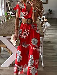 Недорогие -Жен. Богемный Изысканный С летящей юбкой Платье - Цветочный принт, Пэчворк С принтом обернуть Средней длины Тропический лист
