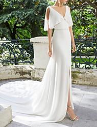 Недорогие -А-силуэт V-образный вырез Со шлейфом средней длины Сатин Свадебные платья Made-to-Measure с от LAN TING Express
