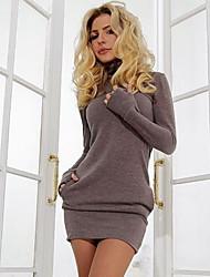 Недорогие -Жен. Классический Облегающий силуэт Платье - Однотонный Выше колена