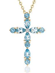 Недорогие -Жен. Синий Синтетический сапфир Ожерелья с подвесками геометрический Крест Мода Титановая сталь Светло-синий 40+5 cm Ожерелье Бижутерия 1шт Назначение Повседневные Офис