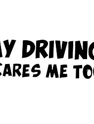 povoljno -automobilska reflektirajuća naljepnica, moja vožnja me plaši previše slova upozoravajuće naljepnice - crna